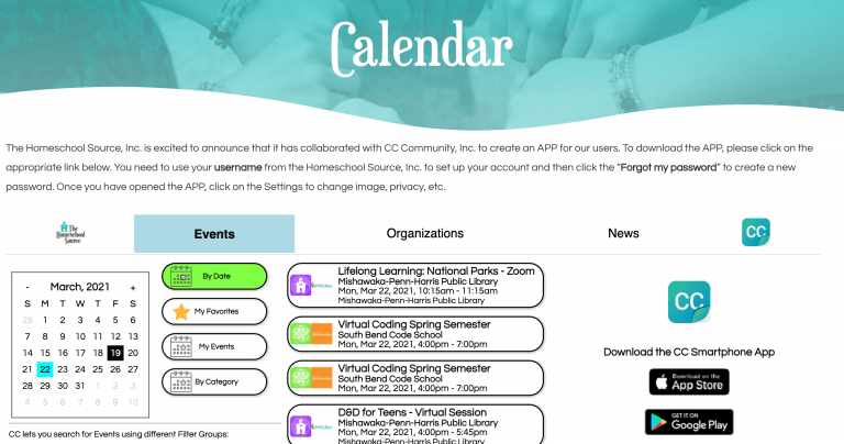 Homeschooling - Find local events and organizations with our Calendar and app