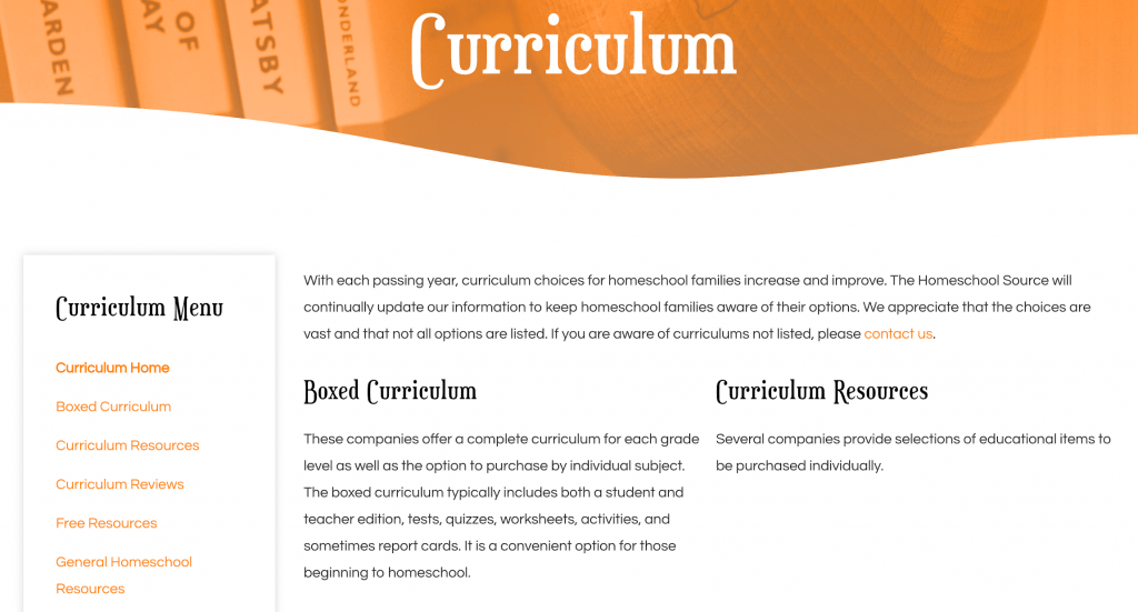 Homeschooling curriculum of every kind listed on our site.